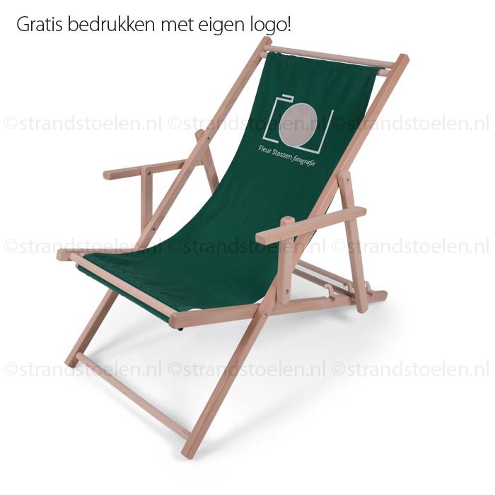 Houten Strandstoel Met Armleuning.Strandstoel Met Logo Type Relax Strandstoelen Nl